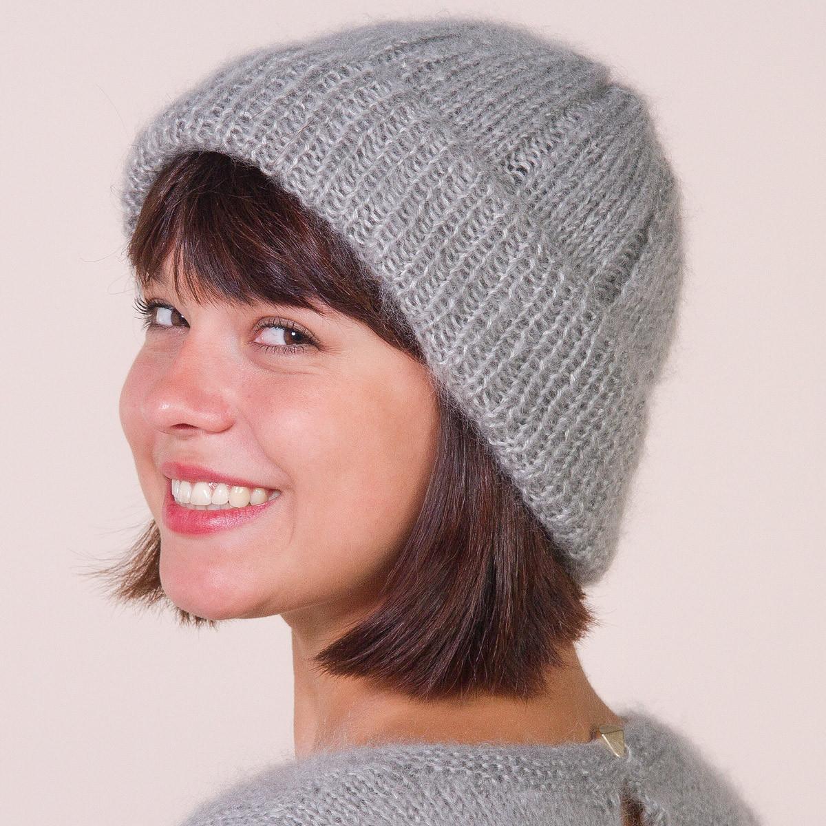 Bonnet en mohair à tricoter
