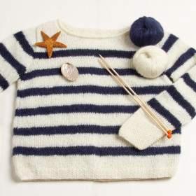 Pull marin à rayures à tricoter soi-même en mohair bleu et blanc