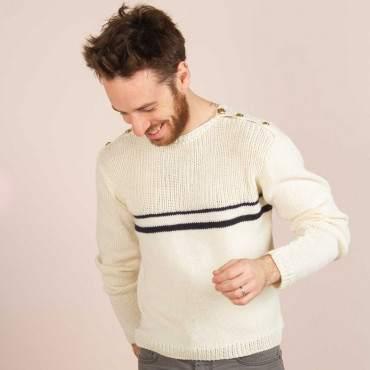 pull marin en mérinos à tricoter soi-même DIY