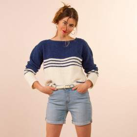 Pull marin en coton à tricoter en kit
