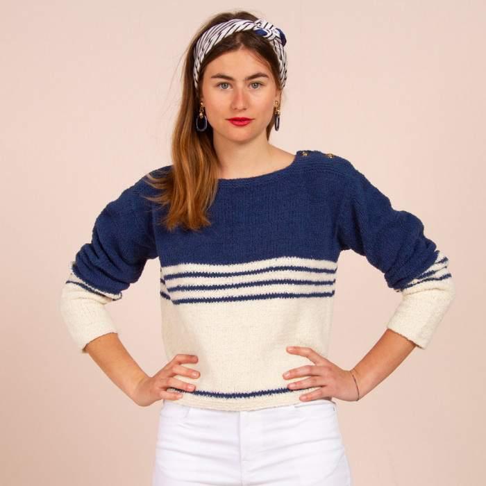 Marinière en kit à tricoter en coton