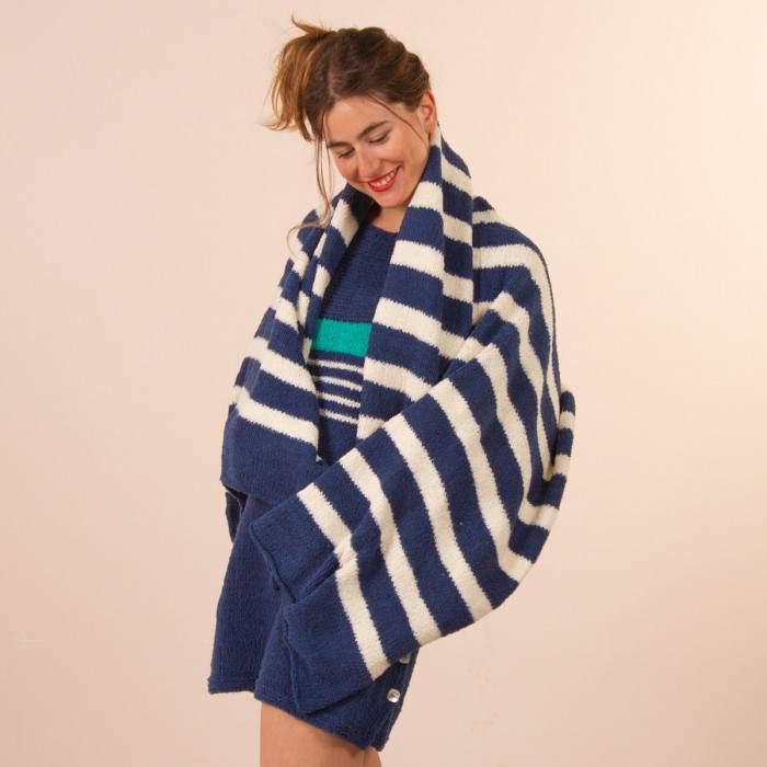 Drap de plage à tricoter en coton