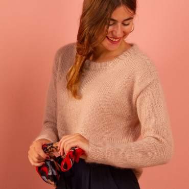 Pull femme à tricoter en mohair et soie