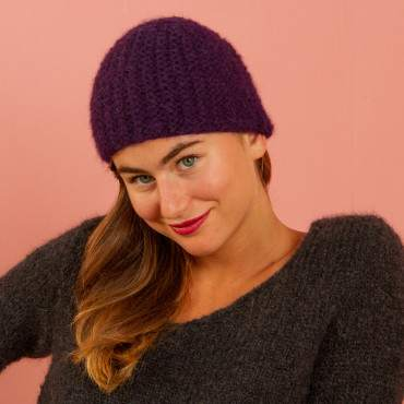 Bonnet en kit tricot au point fantaisie