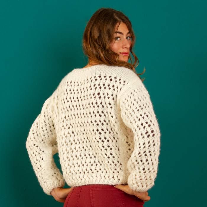Pull en kit tricot alpaga