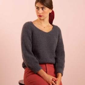 Patron de tricot pull femme tout en mohair et soie.
